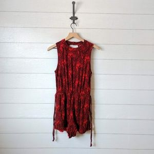 Mimi Chica Red Paisley Tie Side Open Back Romper M